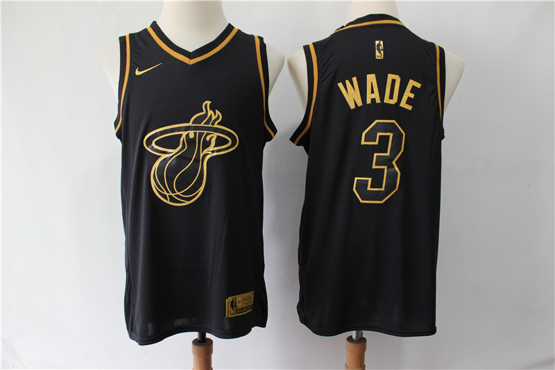 Men Miami Heat 3 Wade Black golden limited NBA Nike Jerseys
