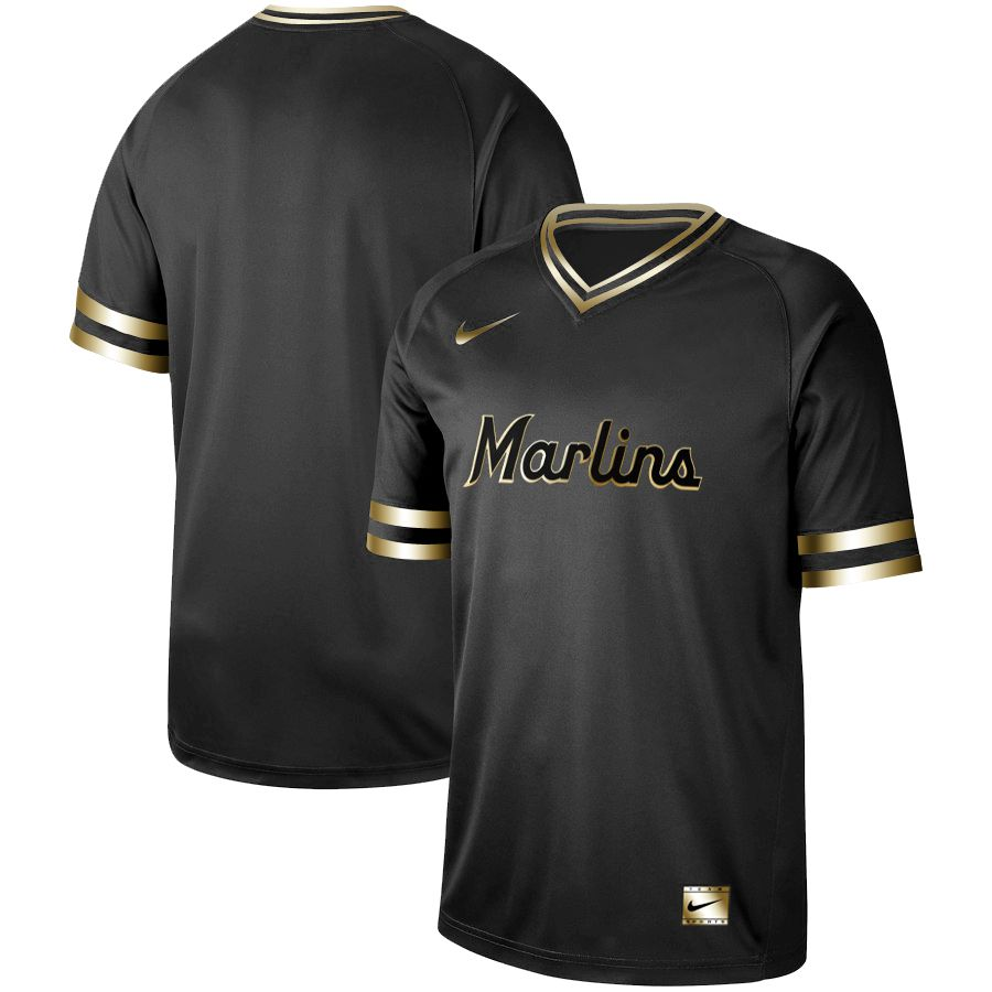 Men Miami Marlins Blank Nike Black Gold MLB Jerseys