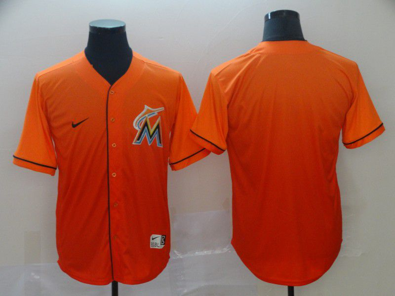 Men Miami Marlins Blank Orange Nike Fade MLB Jersey