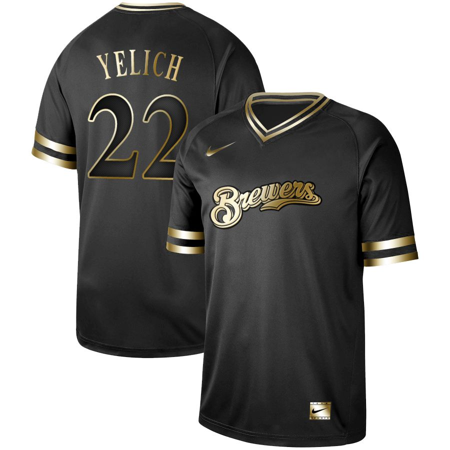 Men Milwaukee Brewers 22 Yelich Nike Black Gold MLB Jerseys