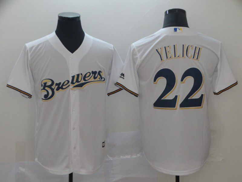 Men Milwaukee Brewers 22 Yelich White Game MLB Jersey
