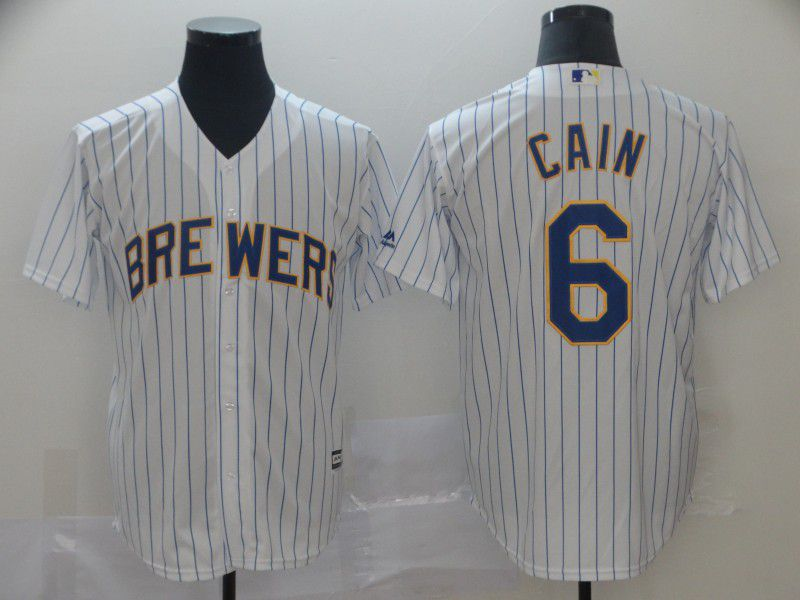 Men Milwaukee Brewers 6 Cain White Game MLB Jersey