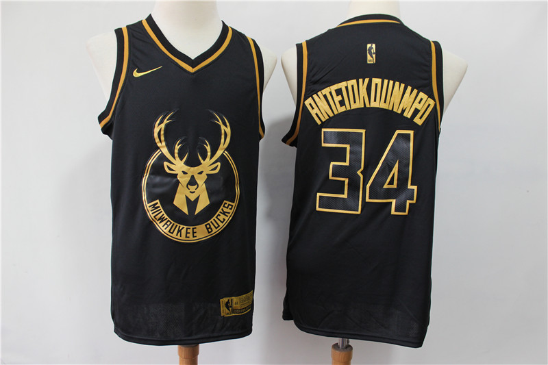 Men Milwaukee Bucks 34 Antetokounmp Black golden limited NBA Nike Jerseys