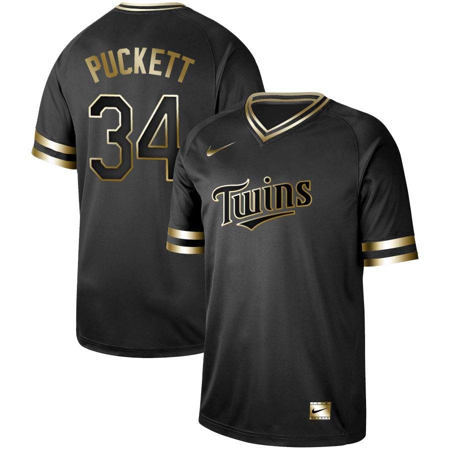 Men Minnesota Twins 34 Puckett Nike Black Gold MLB Jerseys