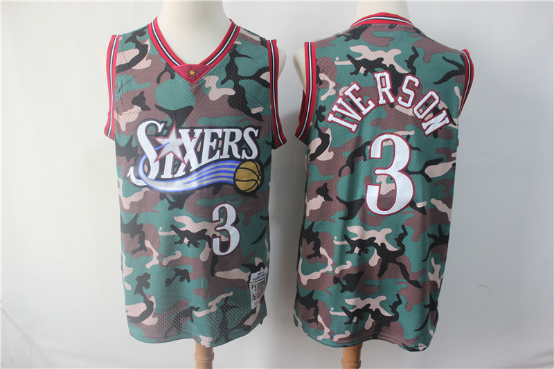 Men NBA Philadelphia 76ers 3 Iverson 2019 new Woodland Camo Nike jersey