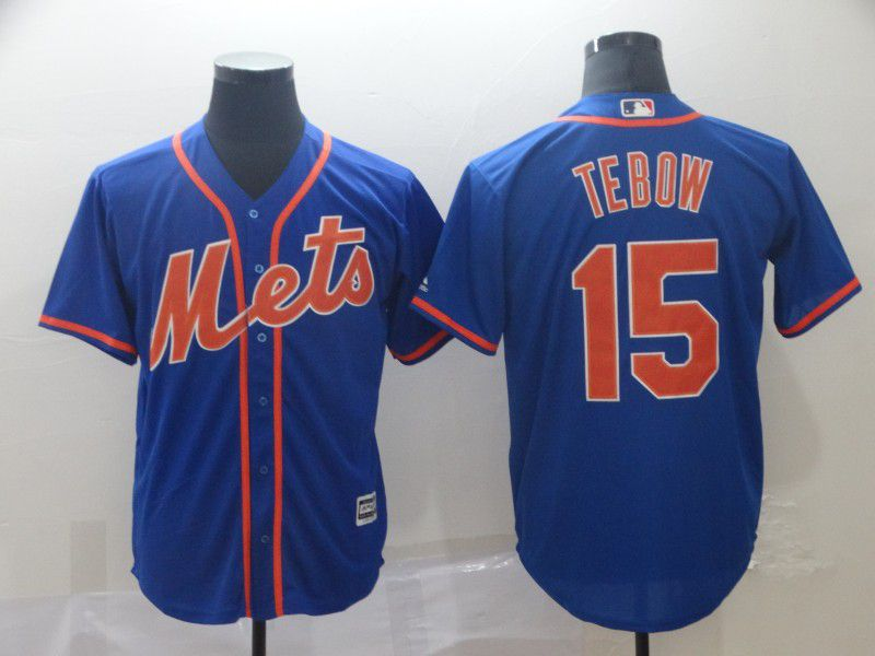 Men New York Mets 15 Tebow Blue Game MLB Jerseys