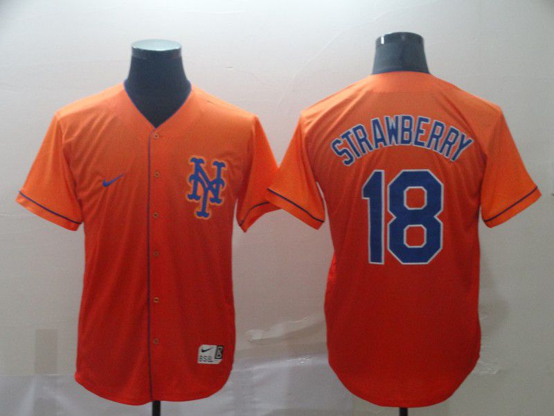 Men New York Mets 18 Strawberry Orange Nike Fade MLB Jersey