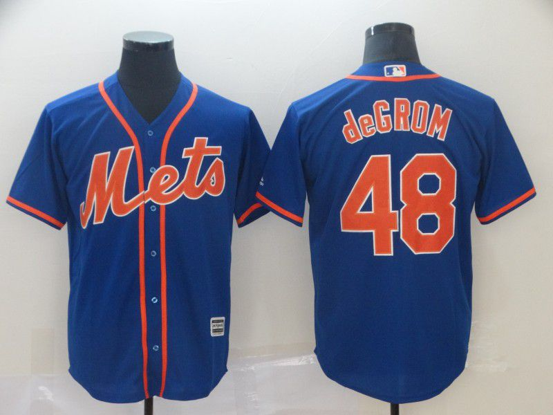 Men New York Mets 48 Degrom Blue Game MLB Jerseys