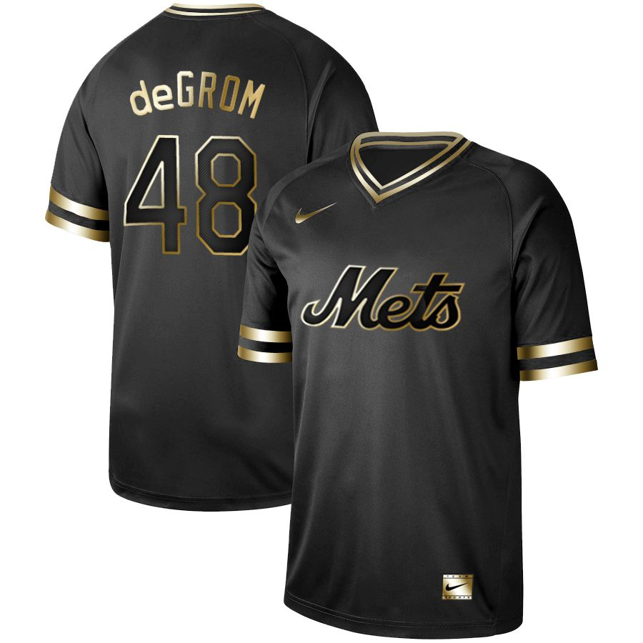 Men New York Mets 48 Degrom Nike Black Gold MLB Jerseys