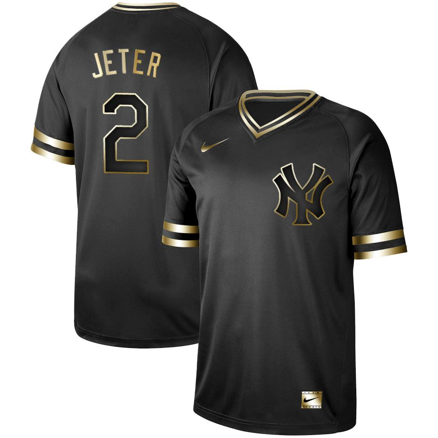 Men New York Yankees 2 Jeter Nike Black Gold MLB Jerseys