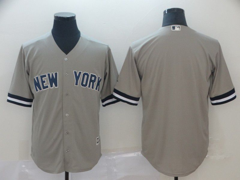 Men New York Yankees Blank Grey Game MLB Jerseys