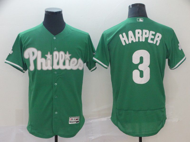 Men Philadelphia Phillies 3 Harper Green Elite MLB Jersey
