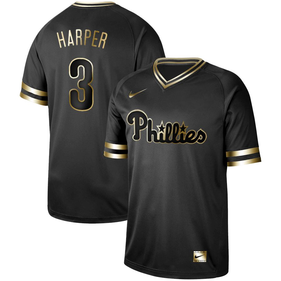 22f2910b1 Men Philadelphia Phillies 3 Harper Nike Black Gold MLB Jerseys