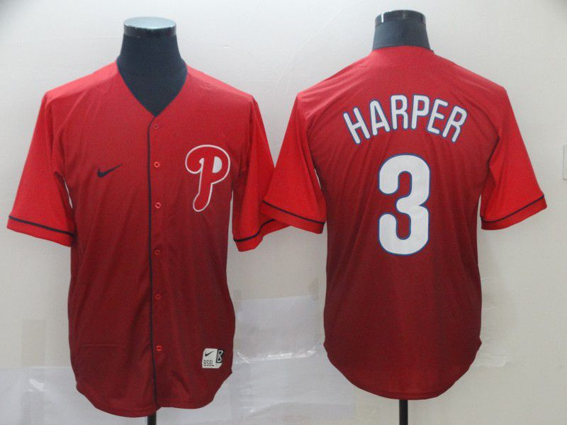 Men Philadelphia Phillies 3 Harper Red Nike Fade MLB Jersey
