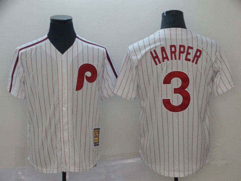 Men Philadelphia Phillies 3 Harper White Throwback MLB Jerseys