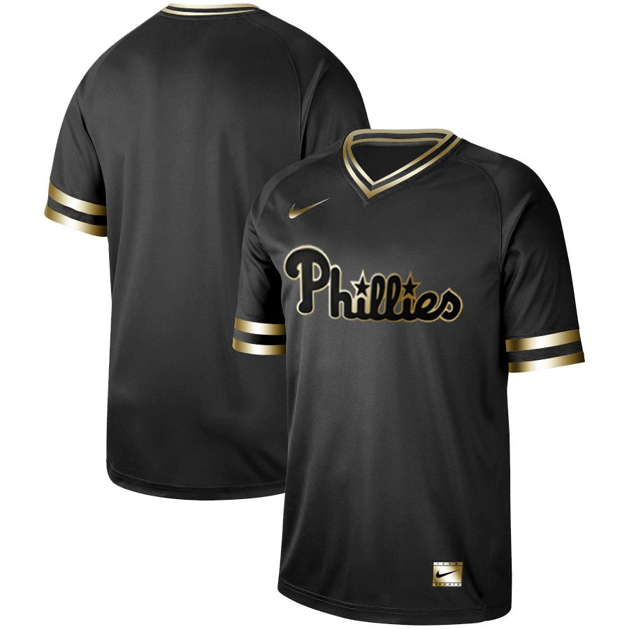 Men Philadelphia Phillies Blank Nike Black Gold MLB Jerseys
