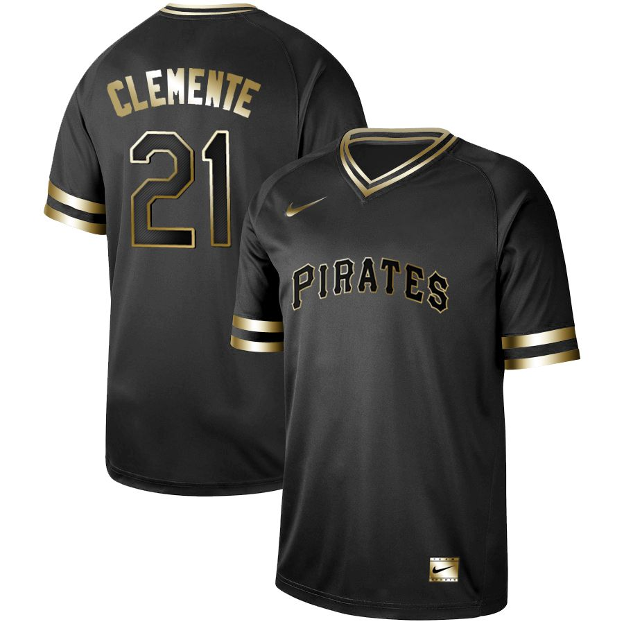 Men Pittsburgh Pirates 21 Clemente Nike Black Gold MLB Jerseys