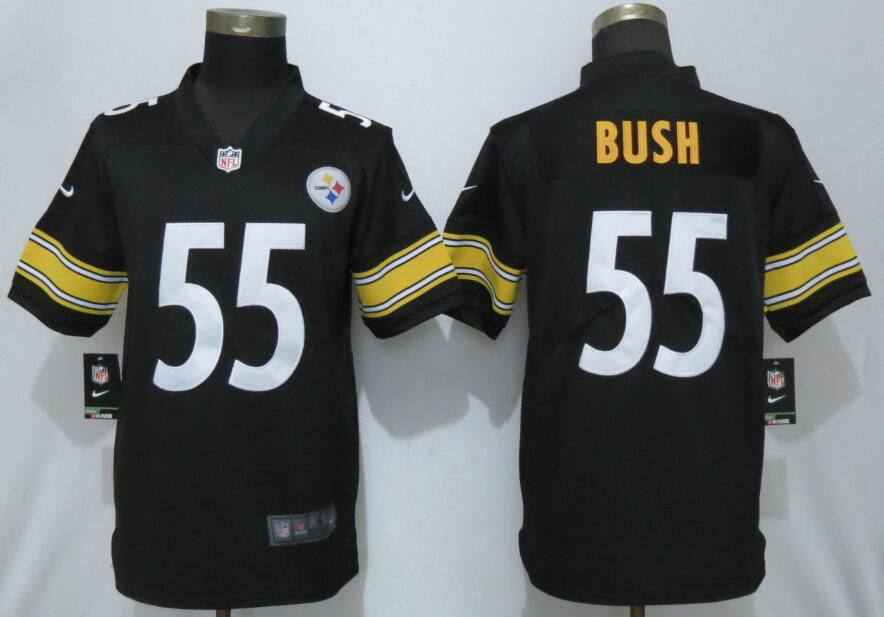 Men Pittsburgh Steelers 55 Bush Black Nike Vapor Untouchable Player NFL Jerseys