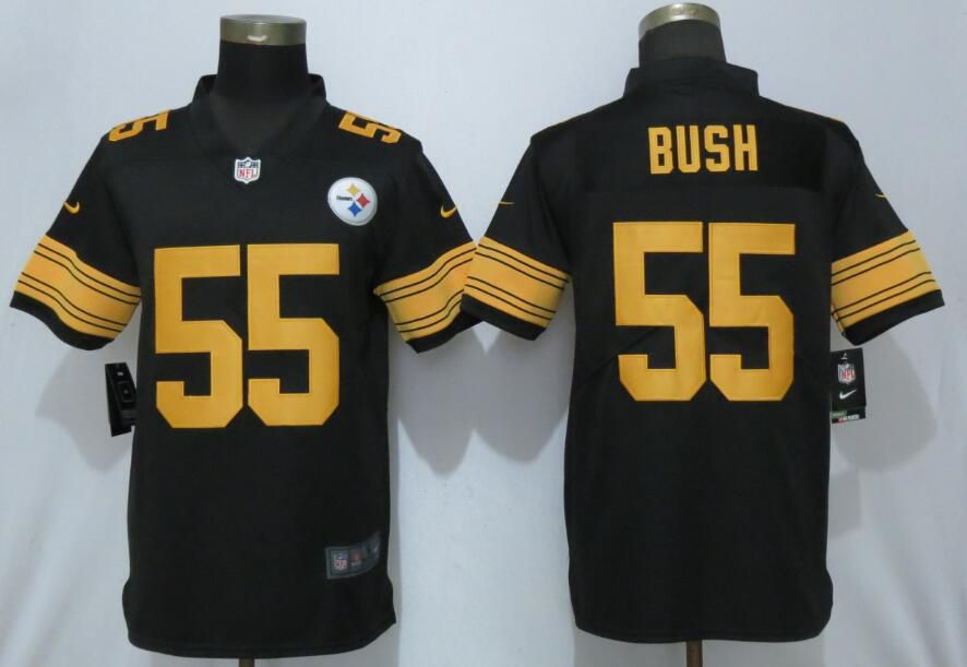 Men Pittsburgh Steelers 55 Bush Navy Black Nike Color Rush Limited NFL Jerseys
