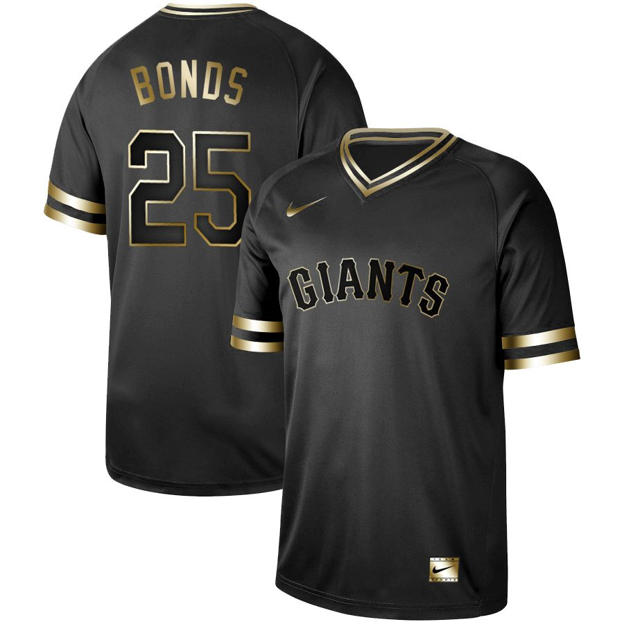 Men San Francisco Giants 25 Bonds Nike Black Gold MLB Jerseys