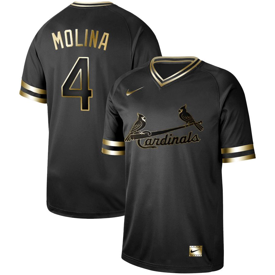 Men St.Louis Cardinals 4 Molina Nike Black Gold MLB Jerseys