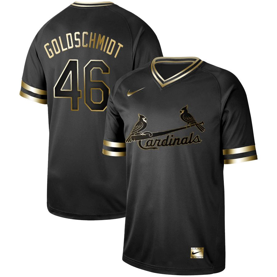 Men St.Louis Cardinals 46 Goloschmidt Nike Black Gold MLB Jerseys