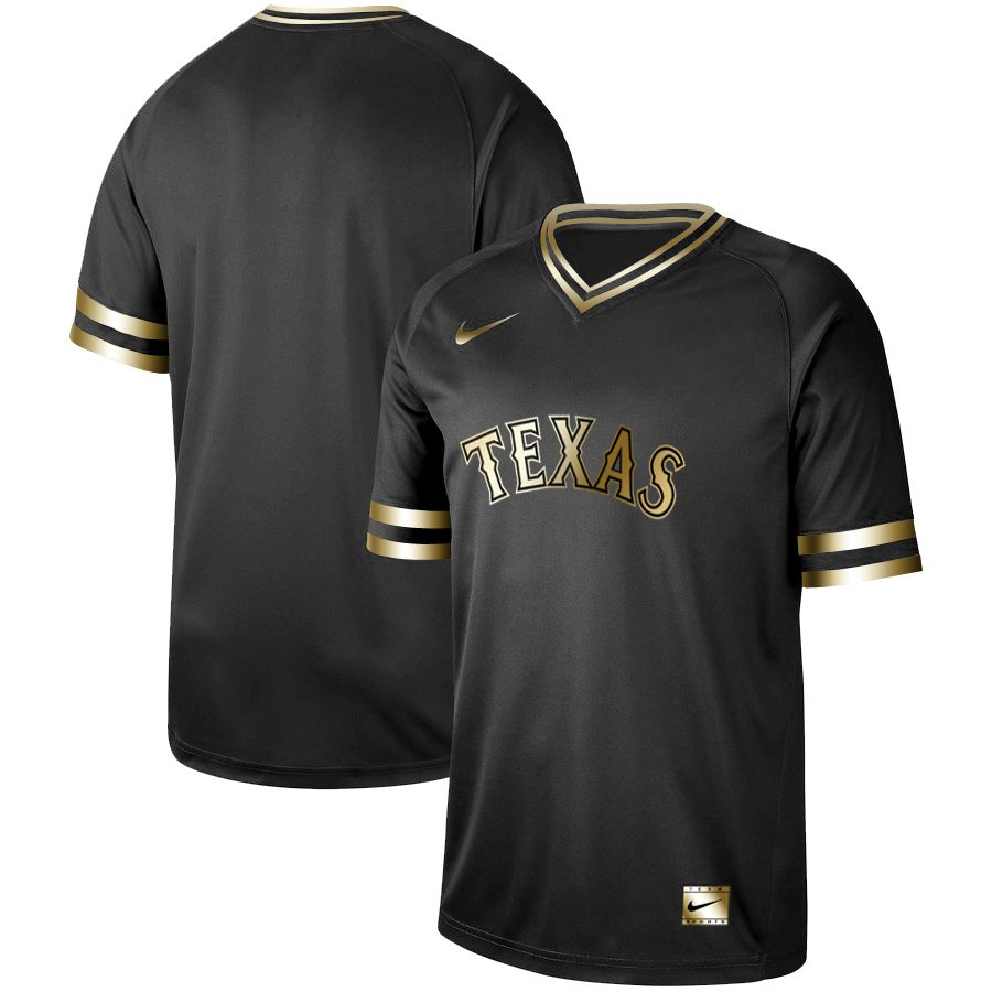 Men Texas Rangers Blank Nike Black Gold MLB Jerseys