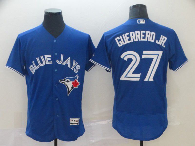 Men Toronto Blue Jays 27 Guerrero jr Blue Elite MLB Jersey