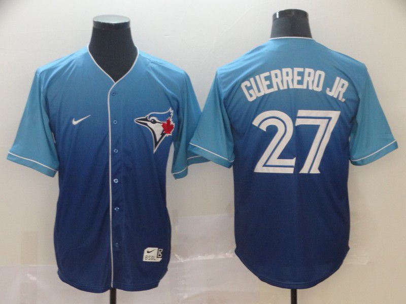 Men Toronto Blue Jays 27 Guerrero jr Blue Nike Fade MLB Jersey