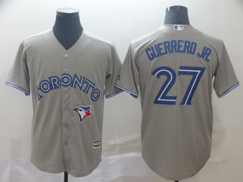 Men Toronto Blue Jays 27 Guerrero jr Grey Game MLB Jersey
