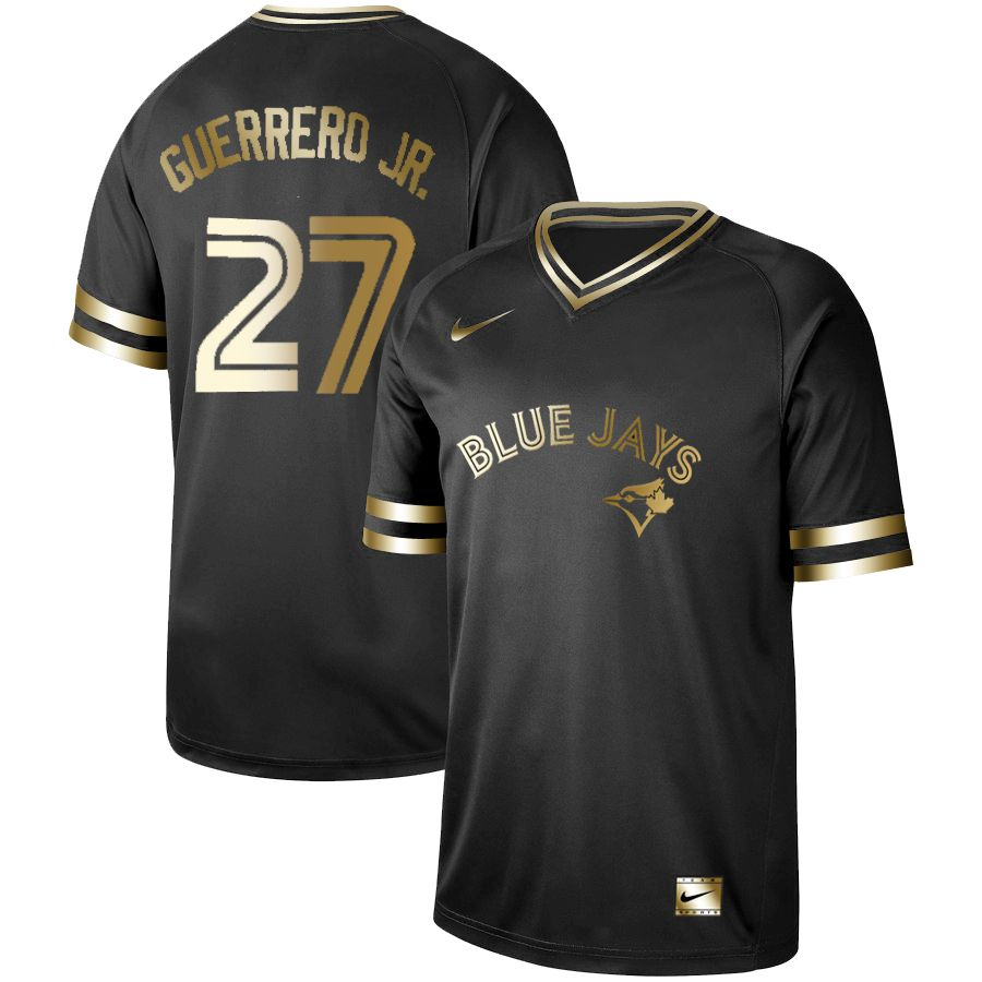 Men Toronto Blue Jays 27 Guerrero jr Nike Black Gold MLB Jerseys