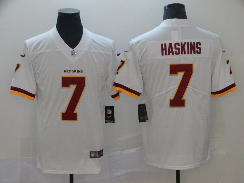 Men Washington Red Skins 7 Haskins White Nike Vapor Untouchable Limited Player NFL Jerseys