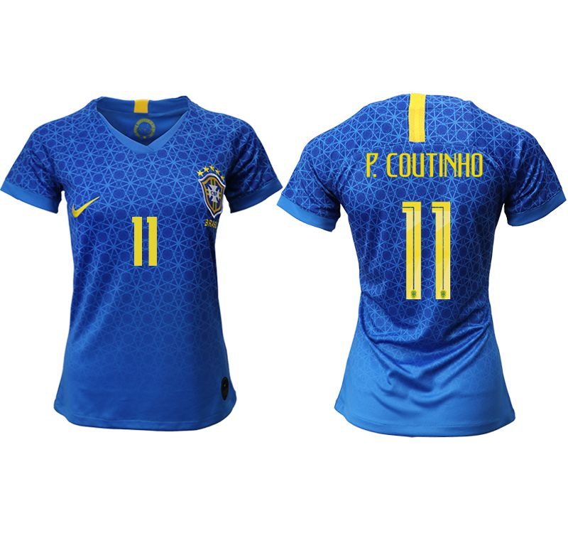 Women 2019-2020 Season National Team Brazil away aaa 11 blue Soccer Jerseys