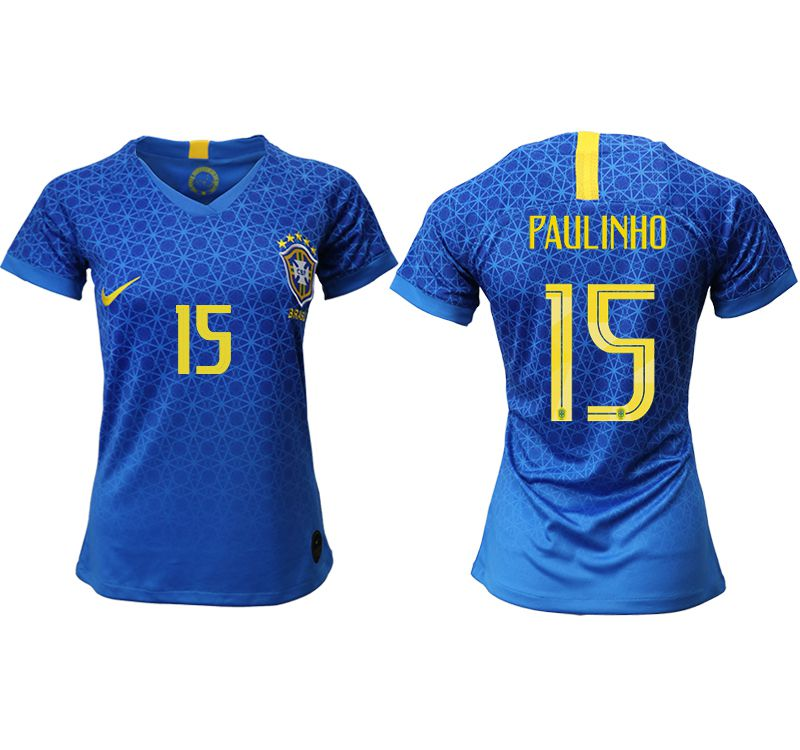 Women 2019-2020 Season National Team Brazil away aaa 15 blue Soccer Jerseys