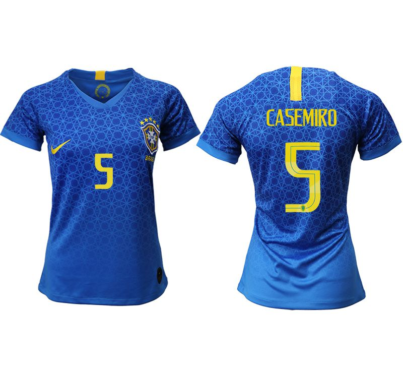 Women 2019-2020 Season National Team Brazil away aaa 5 blue Soccer Jerseys