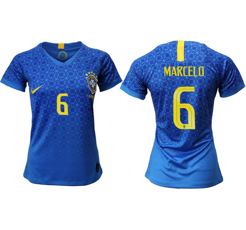 Women 2019-2020 Season National Team Brazil away aaa 6 blue Soccer Jerseys