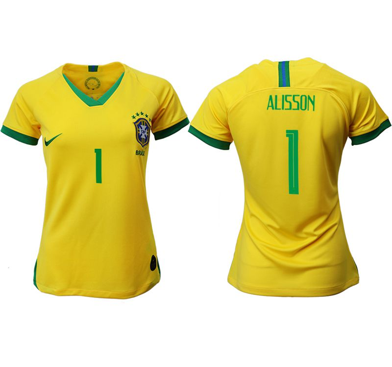Women 2019-2020 Season National Team Brazil home aaa 1 yellow Soccer Jerseys