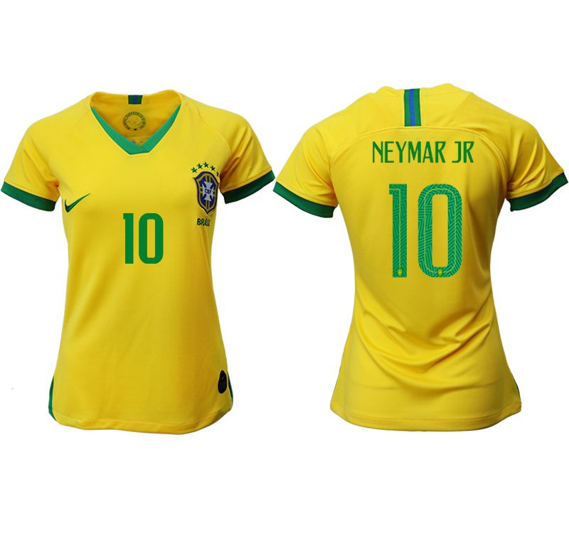 Women 2019-2020 Season National Team Brazil home aaa 10 yellow Soccer Jerseys