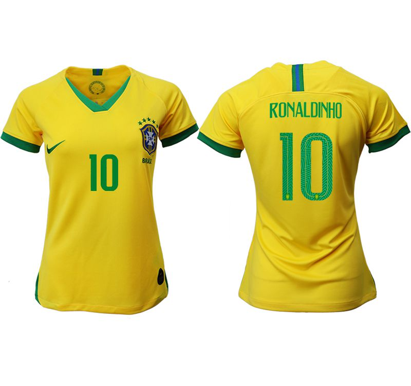Women 2019-2020 Season National Team Brazil home aaa 10 yellow Soccer Jerseys2
