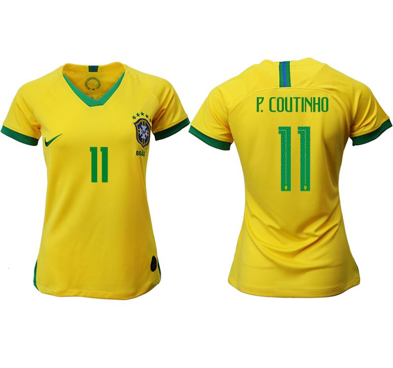 Women 2019-2020 Season National Team Brazil home aaa 11 yellow Soccer Jerseys