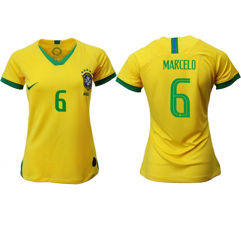 Women 2019-2020 Season National Team Brazil home aaa 6 yellow Soccer Jerseys