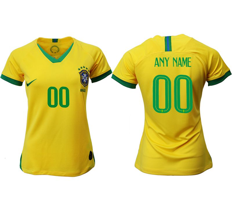 Women 2019-2020 Season National Team Brazil home aaa customized yellow Soccer Jerseys