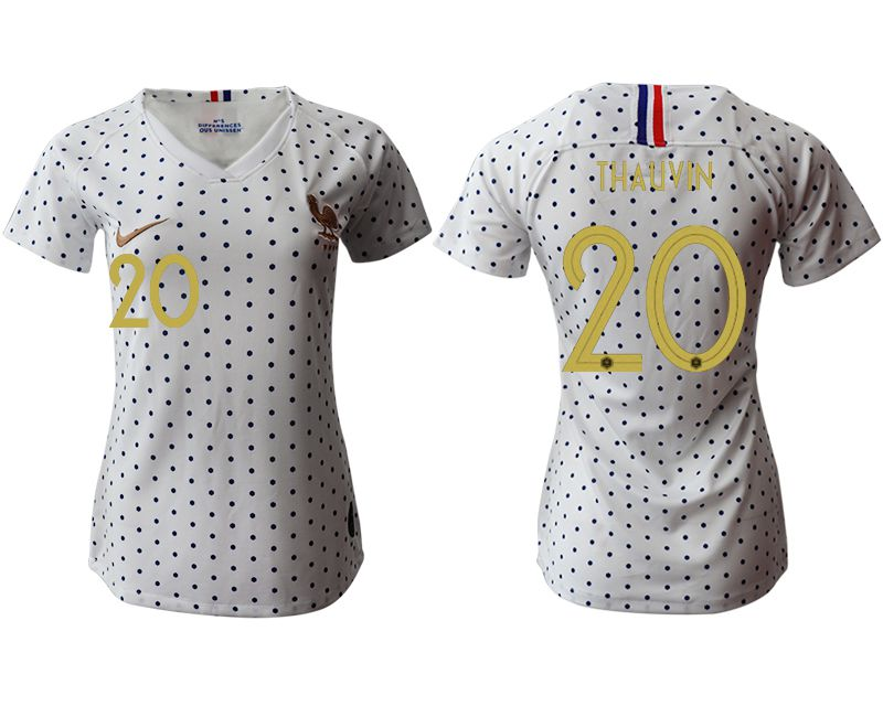 Women 2019-2020 Season National Team France away aaa version 20 white Soccer Jerseys
