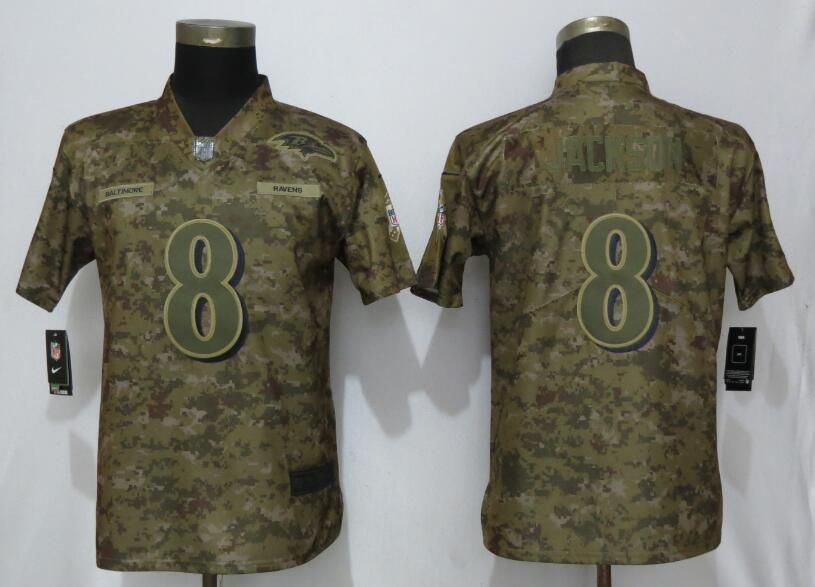 Women Baltimore Ravens 8 Jackson Nike Camo Salute to Service Limited NFL Jerseys