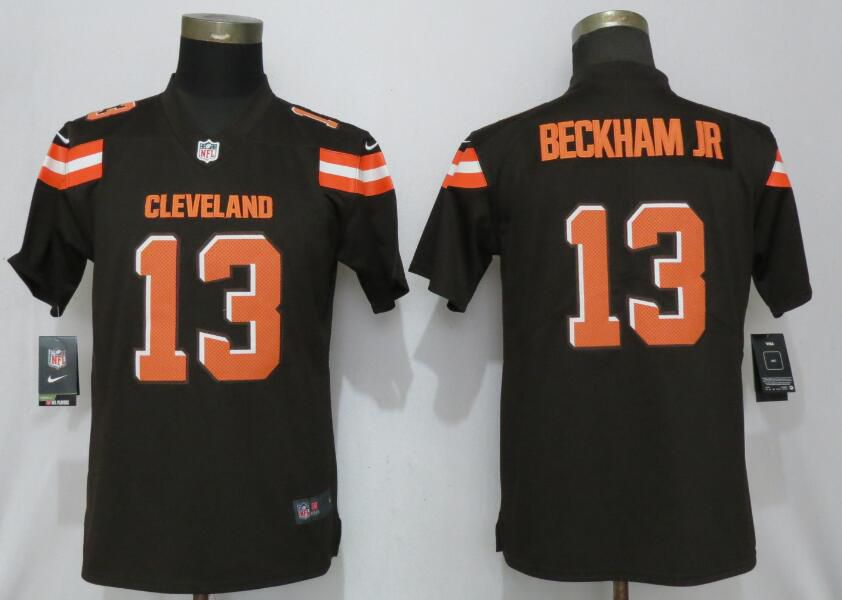 Women Cleveland Browns 13 Beckham jr Brown Nike Vapor Untouchable Player NFL Jerseys