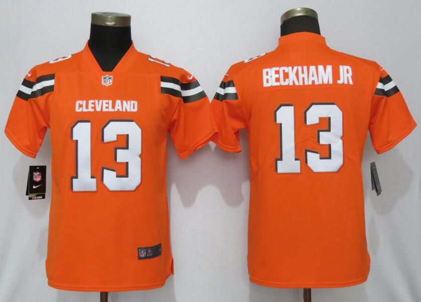 Women Cleveland Browns 13 Beckham jr Orange Nike Vapor Untouchable Player NFL Jerseys