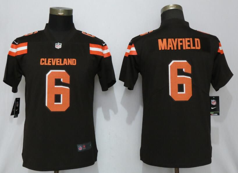 Women Cleveland Browns 6 Mayfield Brown Nike Vapor Untouchable Player NFL Jerseys