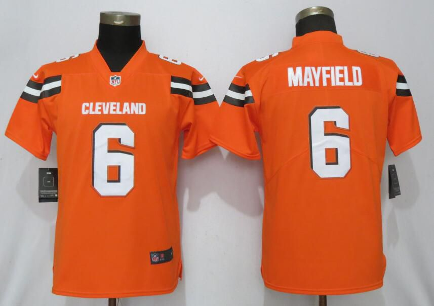 Women Cleveland Browns 6 Mayfield Orange Nike Vapor Untouchable Player NFL Jerseys