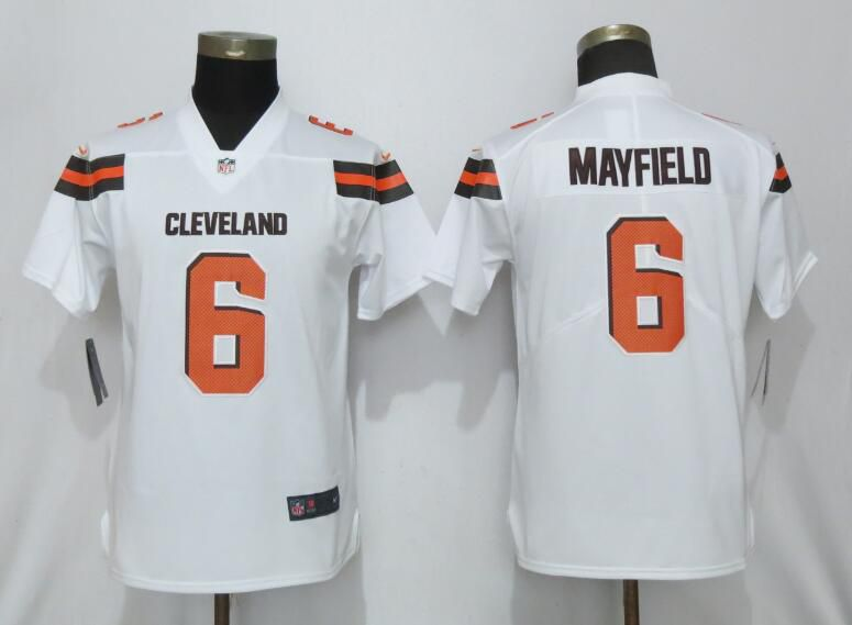 Women Cleveland Browns 6 Mayfield White Nike Vapor Untouchable Player NFL Jerseys