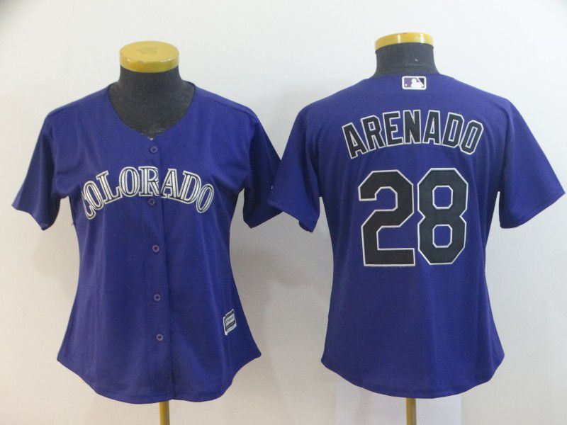Women Colorado Rockies 28 Arenado Purple MLB Jersey